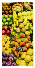 Beach Towel featuring the photograph Barcelona Market Fruit by Steven Sparks