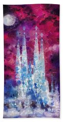 Barcelona Night Beach Towel