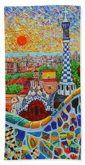 Barcelona Sunrise - Guell Park - Gaudi Tower Beach Sheet by Ana Maria Edulescu