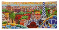 Barcelona Sunrise Light - View From Park Guell Of Gaudi - Square Format Beach Towel