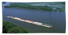 Barge In A River, Mississippi River Beach Towel