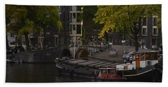 barges in Amsterdam Beach Towel