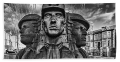 Bargoed Miners 2 Mono Beach Towel by Steve Purnell