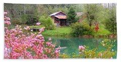 Barn And Flowers Near Pond Beach Towel