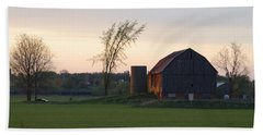 Barn At Dusk Beach Towel by David Porteus