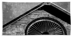 Barn Detail - Black And White Beach Towel