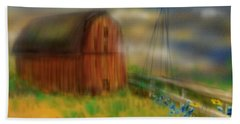 Beach Sheet featuring the painting Barn by Marisela Mungia