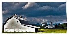 Barns And Radio Telescopes Beach Towel