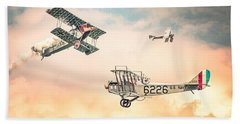 Beach Towel featuring the photograph Barnstormers In The Golden Age Of Flight - Replica Fokker D Vll - Spad 7 - Curtiss Jenny Jn-4h by Gary Heller
