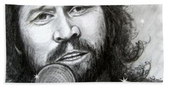 Beach Towel featuring the drawing Barry Gibb by Patrice Torrillo