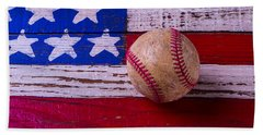 Baseball On American Flag Beach Towel