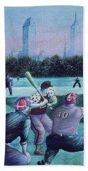 New York Central Park Baseball - Watercolor Art Beach Towel