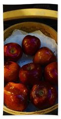 Basket Of Red Apples Beach Sheet