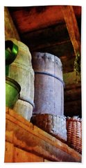 Beach Towel featuring the photograph Baskets And Barrels In Attic by Susan Savad