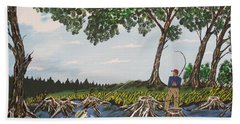 Bass Fishing In The Stumps Beach Towel by Jeffrey Koss