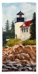 Beach Towel featuring the painting Bass Harbor Head Light by Lee Piper