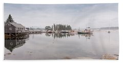 Bass Harbor In The Morning Fog Beach Towel
