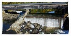 Bath Haverhill Covered Bridge In Autumn Beach Sheet
