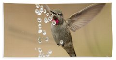 Bath Time For Anna's Hummingbird Beach Sheet by Doug Herr