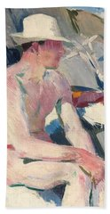 Bather In A White Hat Beach Towel