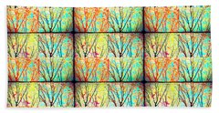 Batik Trees Collage Abstract Beach Towel