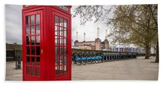 Battersea Phone Box Beach Towel by Matt Malloy
