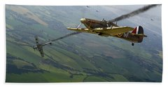 Battle Of Britain Dogfight Beach Sheet by Gary Eason