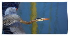 Bay Blue Heron Flight Beach Towel
