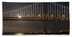 Bay Bridge Moon Rising Beach Towel by Kate Brown