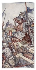 Bayard Defends The Bridge, Illustration Beach Towel