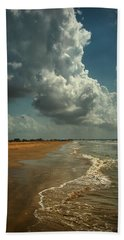 Beach And Clouds Beach Towel by Linda Unger