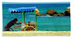 Beach Entrepreneur In San Jose Del Cabo Beach Sheet by Barbie Corbett-Newmin