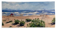 Beach Scene On Galveston Island Beach Towel