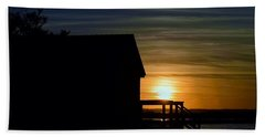 Beach Shack Silhouette Beach Towel