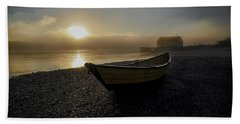 Beach Towel featuring the photograph Beached Dory In Lifting Fog  by Marty Saccone