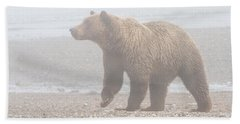 Beach Towel featuring the photograph Bear In Fog by Chris Scroggins
