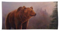Beach Towel featuring the painting Bear In The Mist by Donna Tucker