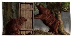 Bears Around The Outhouse Beach Towel by Daniel Eskridge