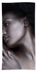 Beautiful Black Woman Face With Shiny Silver Skin Beach Towel