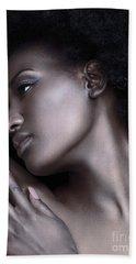 Beautiful Black Woman Face With Shiny Silver Skin Beach Sheet