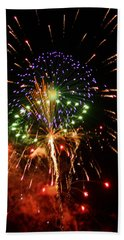 Beautiful Fireworks Works Beach Sheet by Kim Pate