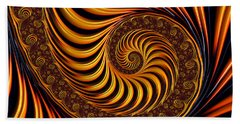 Beach Sheet featuring the digital art Beautiful Golden Fractal Spiral Artwork  by Matthias Hauser