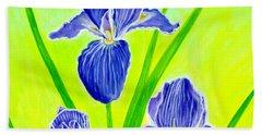 Beautiful Iris Flowers Card Beach Sheet