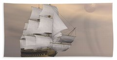 Beautiful Old Merchant Ship Sailing Beach Towel