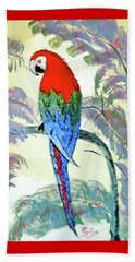 Beach Sheet featuring the painting Beautiful Parrot For Someone Special by Phyllis Kaltenbach