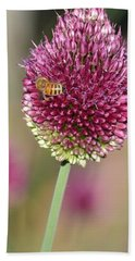 Beautiful Pink Flower With Bee Beach Towel