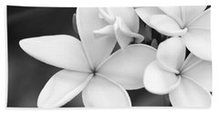 Beautiful Plumeria In Black And White Beach Towel