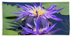 Beach Towel featuring the photograph Beautiful Purple Lilies by Chrisann Ellis