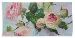 Beautiful Roses Oil Palette Knife Painting Beach Towel