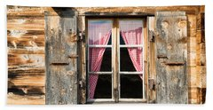 Beautiful Window Wooden Facade Of A Chalet In Switzerland Beach Towel